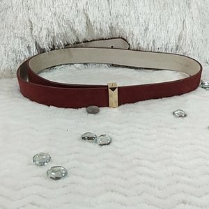 White House Black Market Red Suede Leather Belt